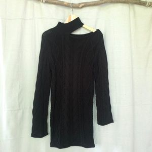 RtA Black Langley Cableknit Sweater Tunic Dress